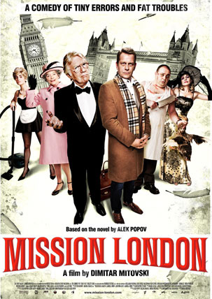 Mission London Film Poster - Big Ben and Tower Bridge are shown in the background with Alan Ford and the other main characters in the foreground.